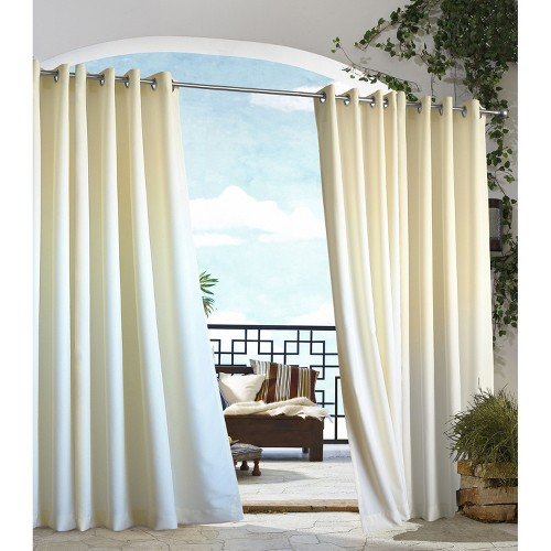 'Outdoor Décor Gazebo Solid Indoor/Outdoor Grommet Top Curtain Panel - Natural (50''x96''), Size: 50x96'''