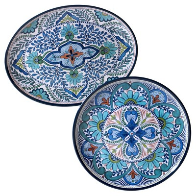 Certified International Talavera by Nancy Green Melamine Set of 2 Serving Platters Blue