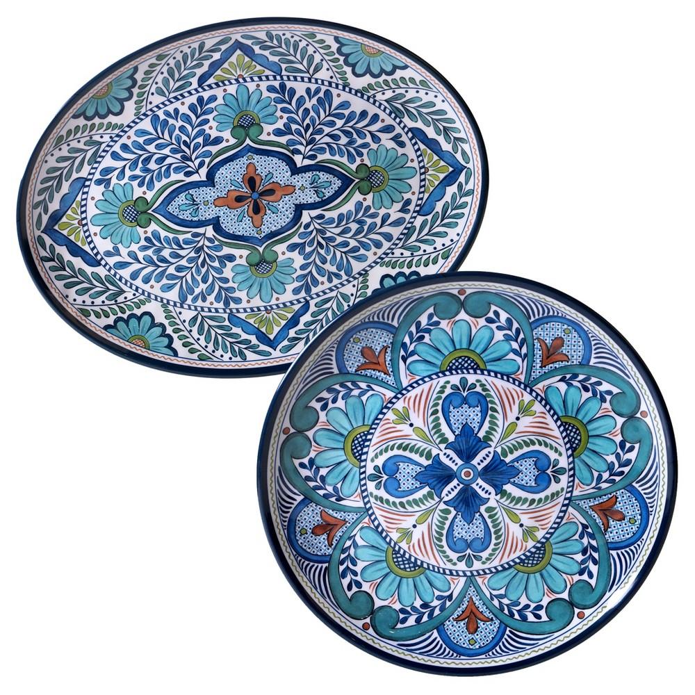 Image of Certified International Talavera by Nancy Green Melamine Set of 2 Serving Platters Blue