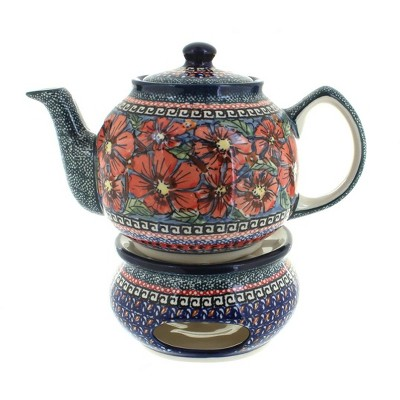 Blue Rose Polish Pottery Jungle Flower Teapot with Warmer