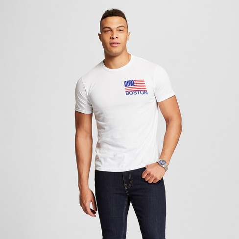 Men's Boston American Flag Short Sleeve Crew Neck T-Shirt - Awake - White - image 1 of 2