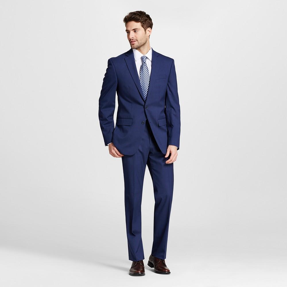 Men's Slim Fit Tonal Plaid Suit Coat Blue 36S - City of London, Size: 36 Short
