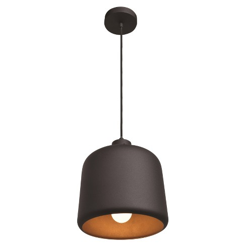 Nostalgia 1-Light Square Dome Pendant - Matte Black Outer, Matte Gold Inner Shade - image 1 of 3