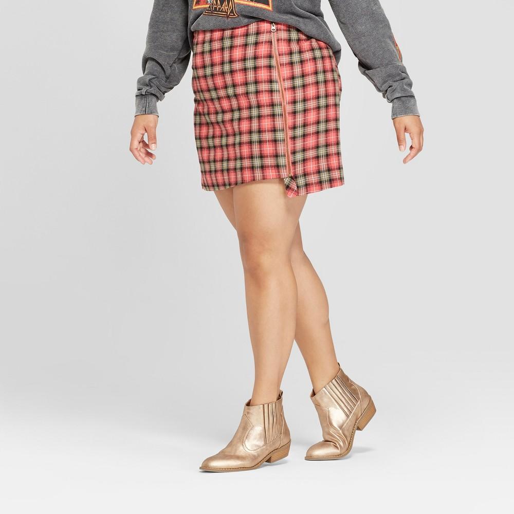 Junk Food Women's Plus Size Plaid Midi Skirt - Red/Green 18