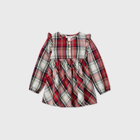 Toddler Girls' Plaid Long Sleeve Blouse - Cat & Jack™ Cream/Red - image 1 of 2