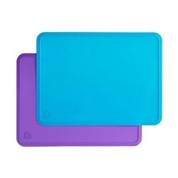 Munchkin Spotless Silicone Placemats - Blue/Purple 2pk