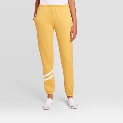 Women's Striped Jogger Pants - Yellow