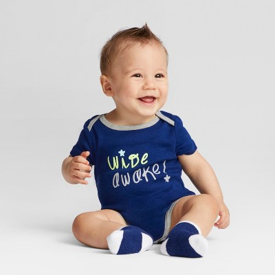 Baby Boys' 4pk Short Sleeve Bodysuit Navy/Gray Baby - Cloud Island™