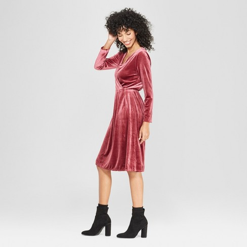 d1ad634737bc Women s Long Sleeve Velvet Wrap Dress - A New Day™ Burgundy   Target