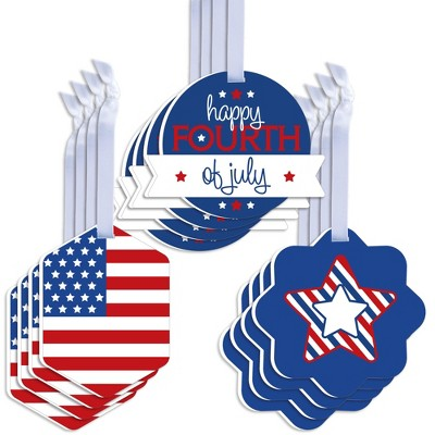 Big Dot of Happiness 4th of July - Assorted Hanging Independence Day Favor Tags - Gift Tag Toppers - Set of 12