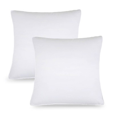 Hypoallergenic Down Alternative Square Decorative Microfiber Bed Pillow Inserts (Set of 2) by Blue Nile Mills