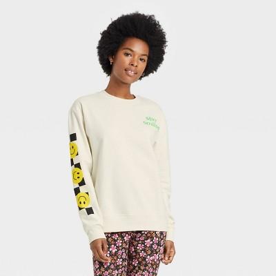 Women's Neon Smiley Graphic Sweatshirt - Ivory