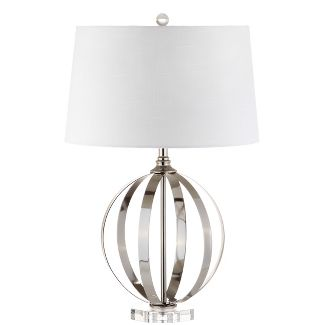 26u0022 Logan Metal Orb LED Table Lamp Brushed Nickel (Includes Energy Efficient Light Bulb) - JONATHAN Y