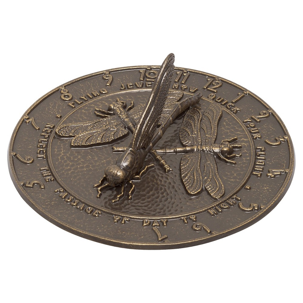 1 Aluminum Dragonfly Sundial - French Bronze - Whitehall Products, Brown