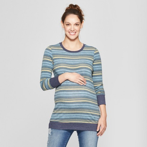 Maternity Striped Long Sleeve Printed Sweatshirt - MaCherie - Navy M - image 1 of 2