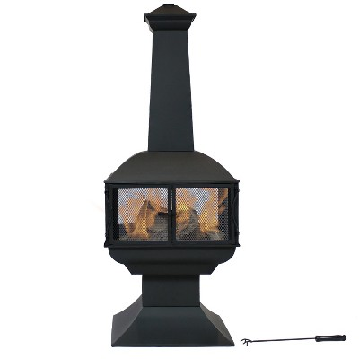 """Sunnydaze Outdoor Backyard Patio Steel 360-Degree View Wood-Burning Fire Pit Chiminea with Wood Grate and Poker - 57"""" - Black"""