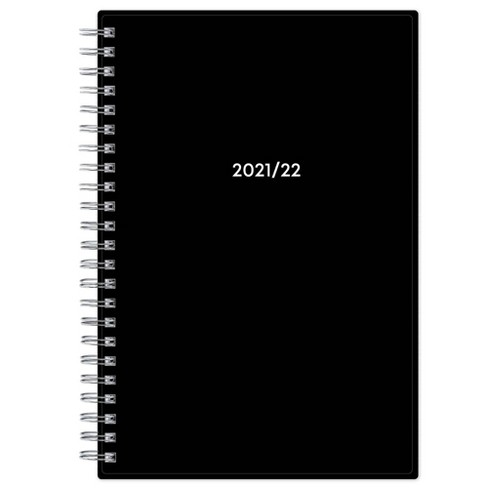 2021 22 Academic Planner Dual Language Spanish English 5 X8 Flexible Plastic Cover Wirebound Weekly Monthly Solid Black Blue Sky Target