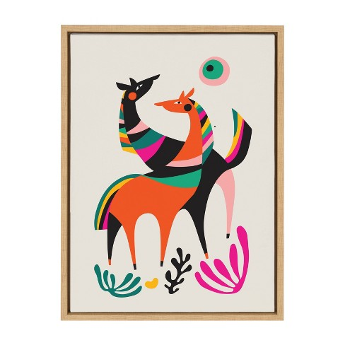 """18"""" x 24"""" Sylvie Dancing Horses Framed Canvas Wall Art by Rachel Lee Natural - Kate and Laurel - image 1 of 4"""