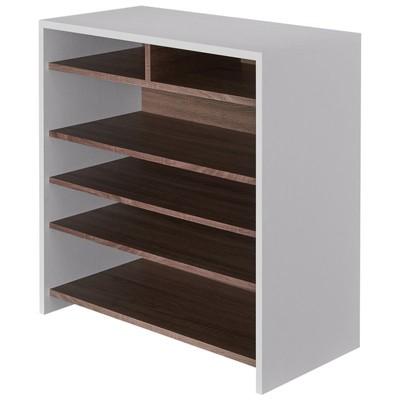 Soren Modern 5-Tier Wood Shoe Rack in White and Brown - Furniture of America