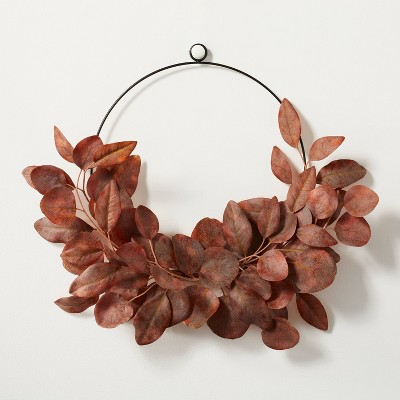 """18"""" Asymmetrical Faux Rusted Eucalyptus Wire Wreath - Hearth & Hand™ with Magnolia"""