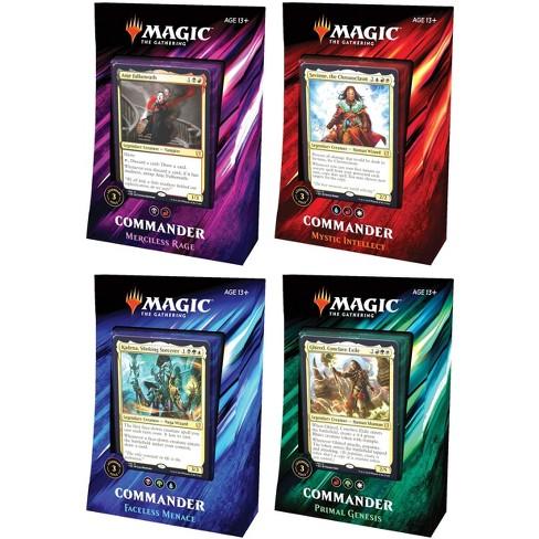 MtG Trading Card Game Commander 2019 Set of 4 Decks [Primal Genesis, Faceless Menace,Mystic Intellect, and Merciless Rage] - image 1 of 1