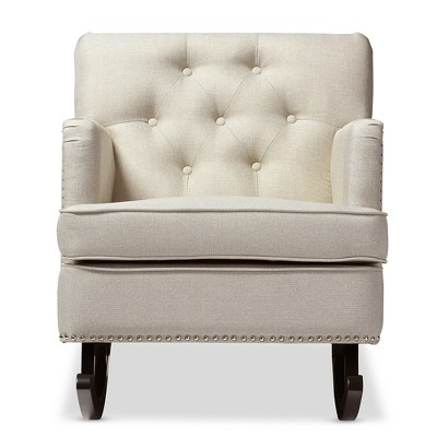 Bethany Modern and Contemporary Light Fabric Upholstered Button - Tufted Rocking Chair - Gray - Baxton Studio