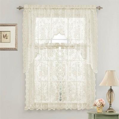 GoodGram Lena Floral Lace Complete Kitchen Curtain Tier & Swag Set