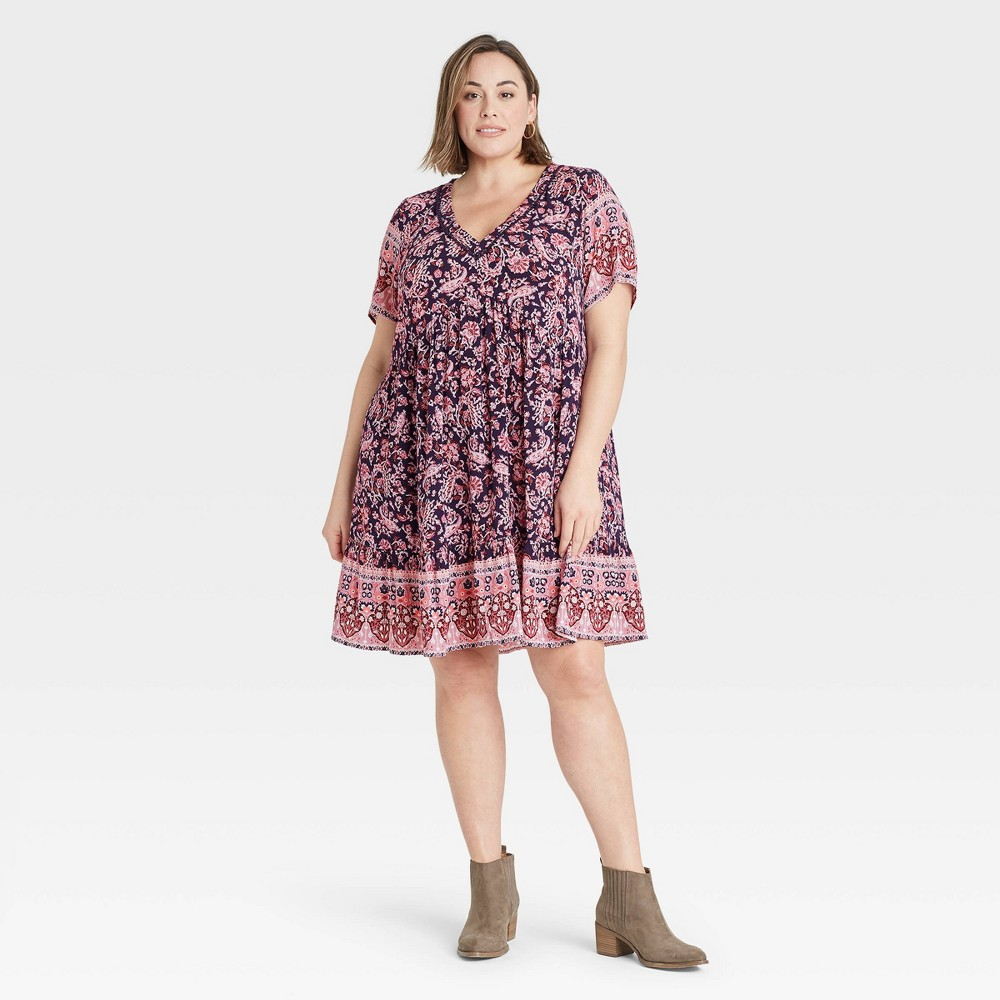 60s 70s Plus Size Dresses, Clothing, Costumes Womens Plus Size Floral Print Short Sleeve Dress - Knox Rose Navy 4X BluePink $29.99 AT vintagedancer.com