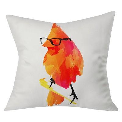 "Orange Robert Farkas Punk Bird Throw Pillow (20""x20"") - Deny Designs"