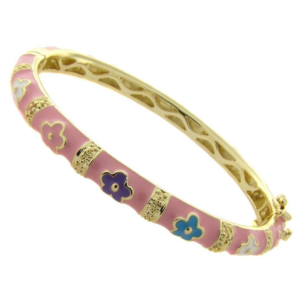 Ellen 18k Gold Overlay Flower Design Bangle - Pink, Girl's