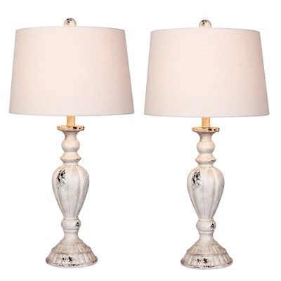 Distressed Candlestick Resin Table Lamps in Cottage Antique White  - Fangio Lighting
