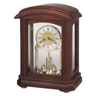 Bulova B1848 Nordale Tabletop Solid Hardwood Clock with Decorative Accents and Revolving Pendulum for Mantel Fireplace Desk Shelf Living Room, Walnut