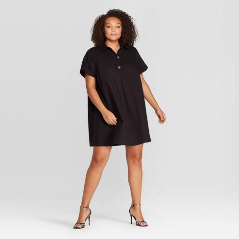 Women\'s Plus Size Short Sleeve Collared Mini Shirtdress - Who What Wear™  Jet Black 1X