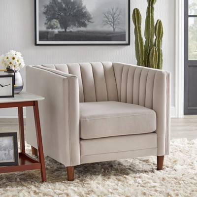 Paxton Channel Back Tuxedo Chair Taupe Lifestorey Target