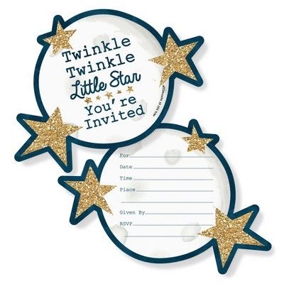 Big Dot of Happiness Twinkle Twinkle Little Star - Shaped Fill-in Invites - Baby Shower or Birthday Party Invitation Cards with Envelopes - Set of 12
