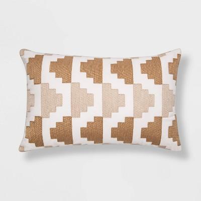 Embroidered Modern Pattern Lumbar Throw Pillow Tan - Project 62™
