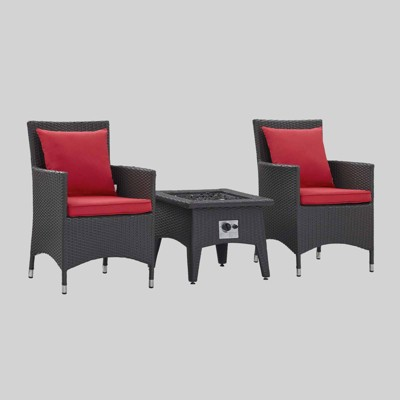 Convene 3pc Outdoor Patio with Fire Pit - Espresso Red - Modway