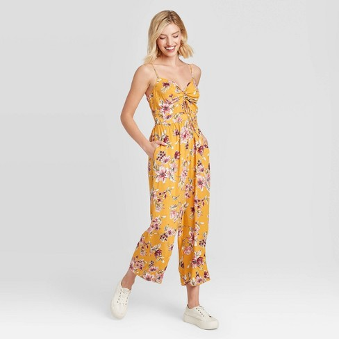 Women's Floral Print Sleeveless V-Neck Ruched Front Cutout Cropped Jumpsuit - Xhilaration™ - image 1 of 2