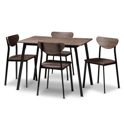5pc Ornette Mid Century Modern Matte Frame Dining Set Light Brown - Baxton Studio