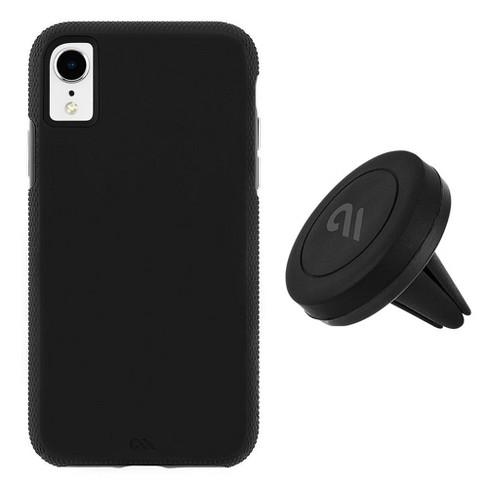 low cost ef4d9 d7f36 Case-Mate iPhone XR Car Case - Tough Grip Black Case + Car Vent Mount Case