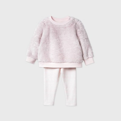 Baby Girls' Sherpa Cozy Top & Bottom Set - Cat & Jack™ Pink 6-9M