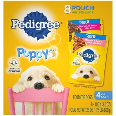 Pedigree Pouch Choice Cuts In Gravy Wet Dog Food Beef & Chicken Morsels In Sauce Puppy - 3.5oz/8ct Variety Pack