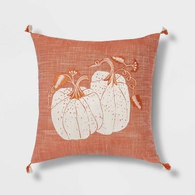 Embroidered Pumpkins Square Throw Pillow Orange - Threshold™