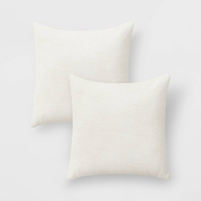 "2pk 18""x18"" Solid Chenille Square Throw Pillows Cream"