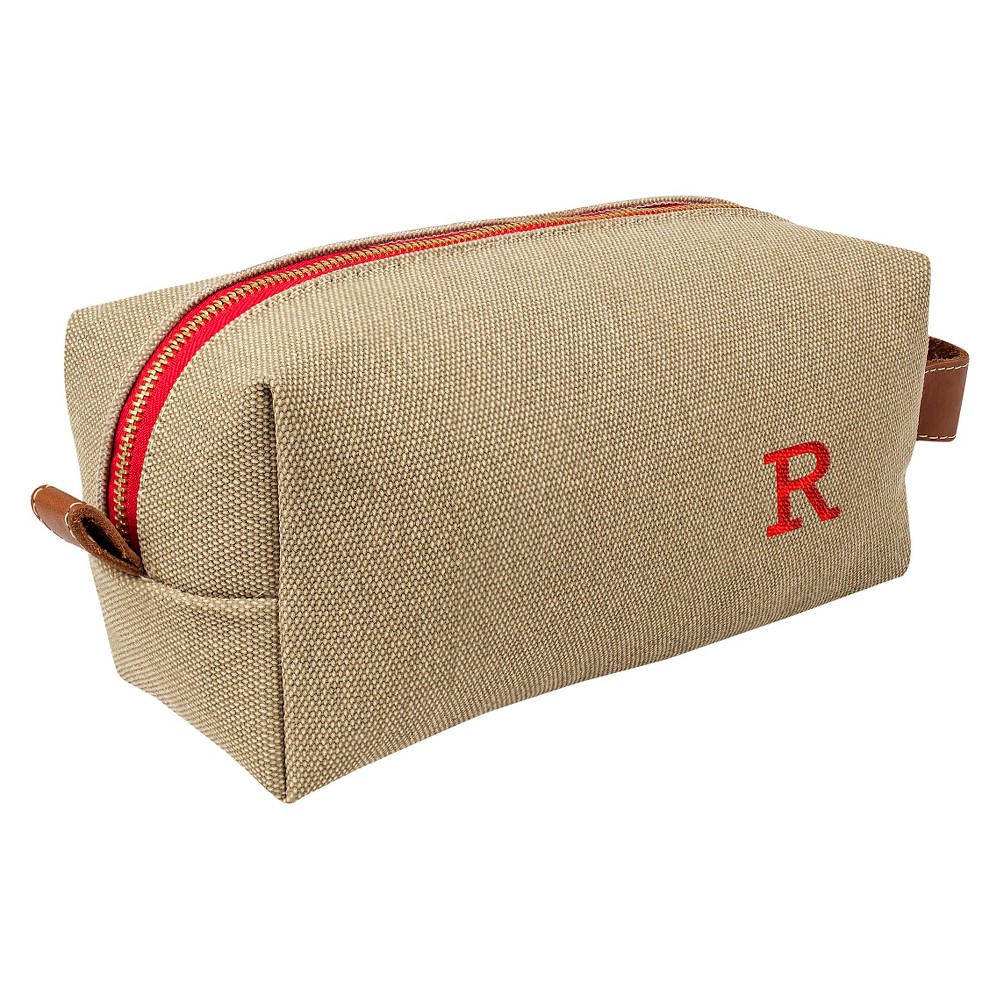 Personalized Tan Waxed Canvas & Leather Dopp Kit - R, Taupe Brown