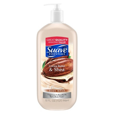 Suave Essentials Cocoa Butter & Shea Creamy Body Wash Soap for All Skin Types - 32 fl oz