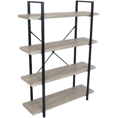 Sunnydaze 4 Shelf Industrial Style Freestanding Etagere Bookshelf with Wood Veneer Shelves - Oak Gray Veneer