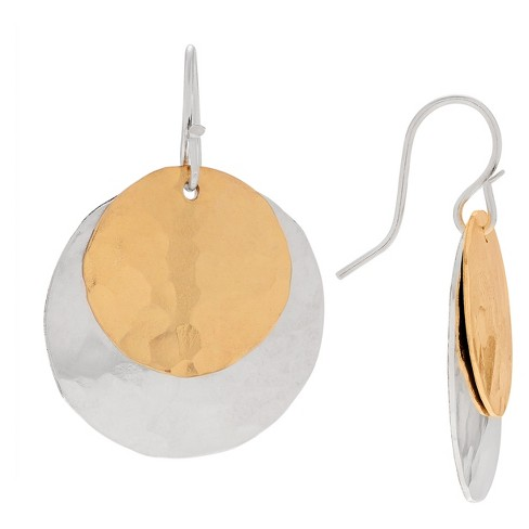Women's Journee Collection Double Hammered Disc Dangle Earrings in Sterling Silver - image 1 of 2