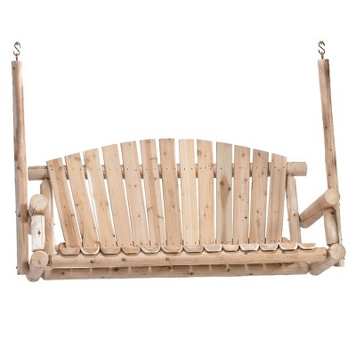 Lakeland Mills 5 Ft 3 Person Rustic White Cedar Wood Log Outdoor Porch Swing Furniture, Natural