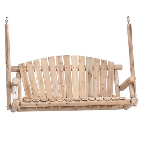 Lakeland Mills 5 Ft Rustic Cedar Wood Log Outdoor Porch Swing Furniture, Natural - image 1 of 2